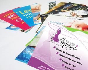 Impresión y diseño volantes publicitarios full color en papel propalcote